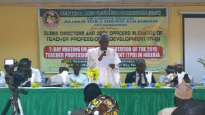 UBEC Executive Secretary, Dr Dikko Sulieman, talking to SUBEB Directors in Kaduna